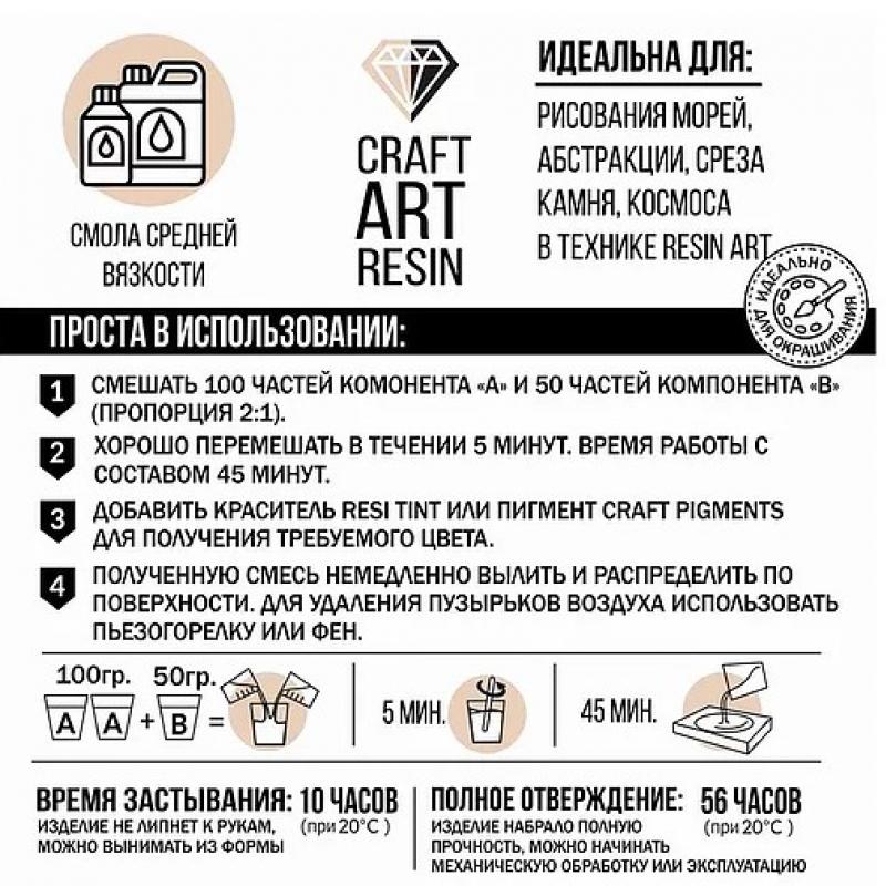 Комплект Эпоксидная смола для рисования CraftArtResin (средней вязкости) 1,5 кг.