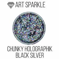 Глиттер крупный б, Chunky Holographic Black Silver, 50 гр
